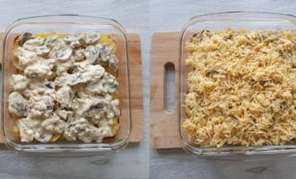 Rețeta Budincă de cartofi cu ciuperci la cuptor Pasul 4